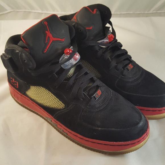 82a7574795cd Air Jordan 5 Air Force 1 Shoes Red Black High Tops.  M 5c6ffa385c4452bcd54ca6ef